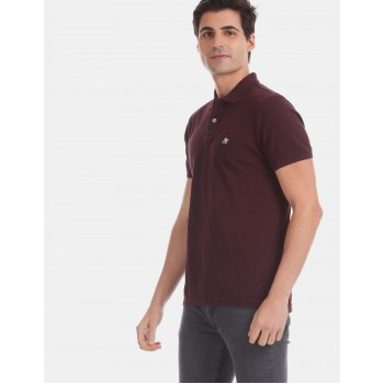 Aeropostale Men Casual Wear Burgundy T-Shirt