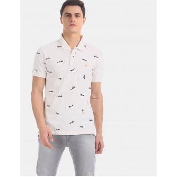 Aeropostale Men Casual Wear Off-White T-Shirt