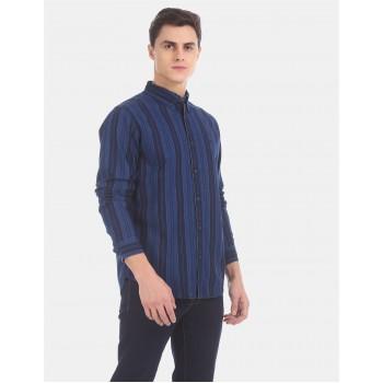 Aeropostale Men Casual Wear Blue Shirt