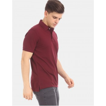 Tommy Hilfiger Men Maroon  Solid Casual T-Shirt