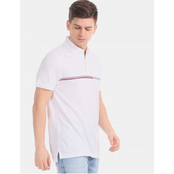 Tommy Hilfiger Men White Solid Casual T-Shirt