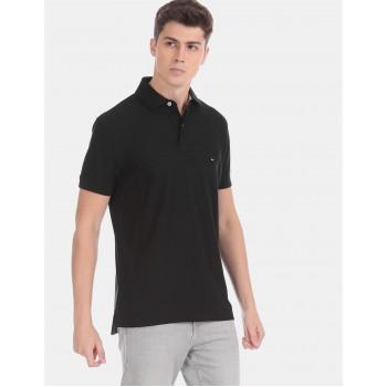 Tommy Hilfiger Men Black Solid Casual T-Shirt