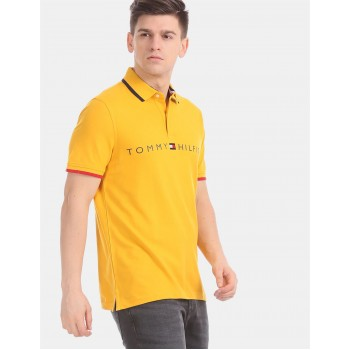 Tommy Hilfiger Men Yellow Solid Casual T-Shirt