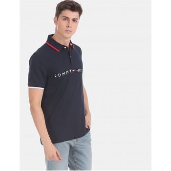 Tommy Hilfiger Men Blue Solid Casual T-Shirt