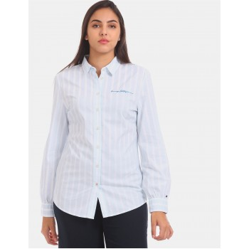 Tommy Hilfiger Women Blue Solid Casual Shirt