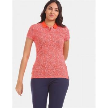 Tommy Hilfiger Women Orange Printed Casual T-Shirt