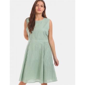 Tommy Hilfiger Women Green  Textured Casual Dress