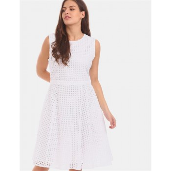 Tommy Hilfiger Women White  Textured Casual Dress