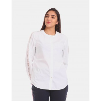 Tommy Hilfiger Women White  Solid Casual Shirt