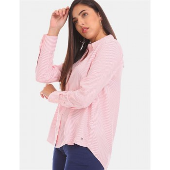 Tommy Hilfiger Women Pink  Striped Casual Shirt