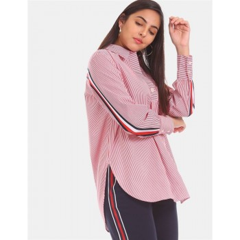 Tommy Hilfiger Women Red Striped Casual Shirt
