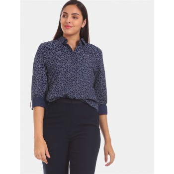 Tommy Hilfiger Women Blue Printed Casual Shirt