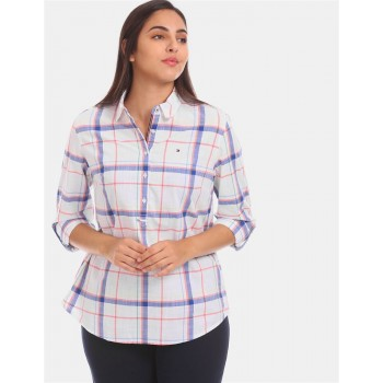 Tommy Hilfiger Women White Checkered Casual Shirt