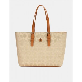 Tommy Hilfiger Women Beige  Tote bagWith 2 Compartment