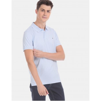 Tommy Hilfiger Men Blue Solid Casual T-Shirt