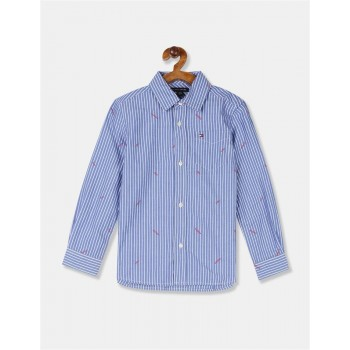 Tommy Hilfiger Boys Blue Long Sleeve Vertical Stripe Logo Shirt
