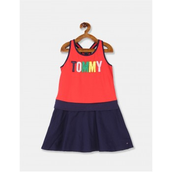 Tommy Hilfiger Girls Red Sleeveless Colour Block Knit Dress