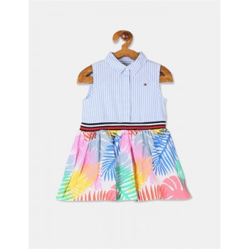 Tommy Hilfiger Girls Multi Colour Concealed Placket Twofer Dress