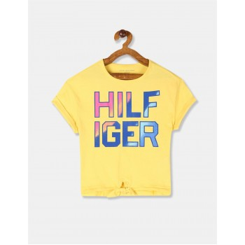 Tommy Hilfiger Girls Yellow Upturned Sleeve Brand Print T-Shirt