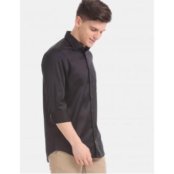 Tommy Hilfiger Men Black Printed Party Wear Shirt