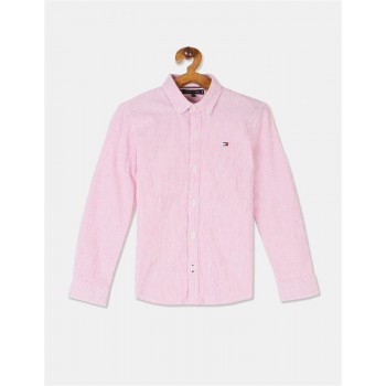 Tommy Hilfiger Boys Pink Long Sleeve Seersucker Stripe Shirt