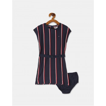 Tommy Hilfiger Girls Blue Vertical Stripe Knit Dress With Bloomers