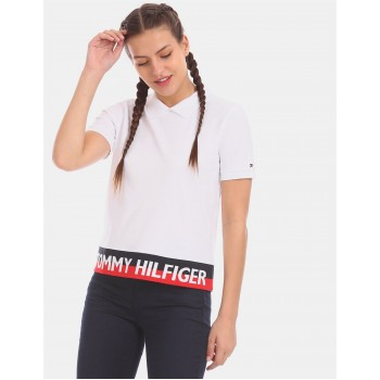 Tommy Hilfiger Women White  Solid Casual T-Shirt
