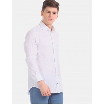 Tommy Hilfiger Men White  Printed Casual Shirt