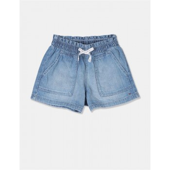 Tommy Hilfiger Girls Blue Lilith Stone Wash Denim Shorts