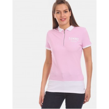 Tommy Hilfiger Women Pink Solid Casual T-Shirt
