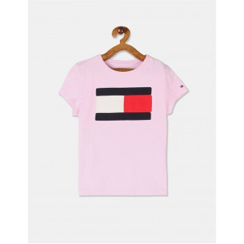 Tommy Hilfiger Girls Pink Round Neck Brand Applique T-Shirt