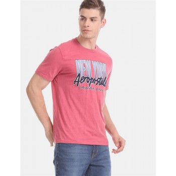 Aeropostale Men Casual Wear Pink T-Shirt