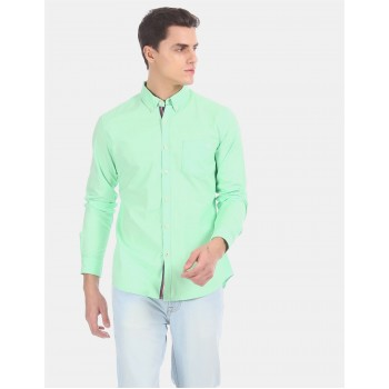 Aeropostale Men Casual Wear Green Shirt