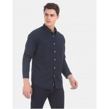 Aeropostale Men Casual Wear Navy Blue Shirt