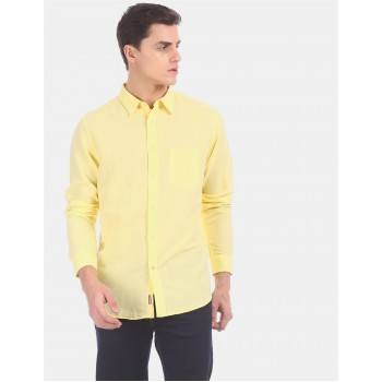 Aeropostale Men Casual Wear Yellow Shirt