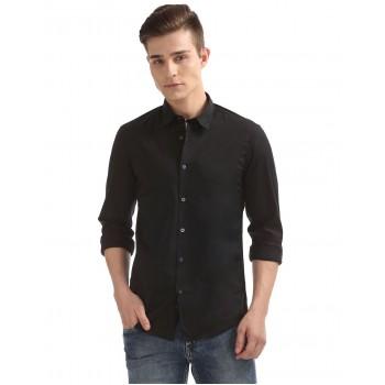 Flying Machine Men Casual Wear Black Shirt