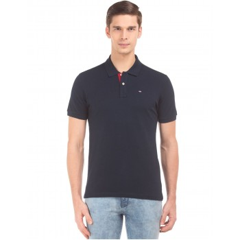 Arrow Sports Men Casual Wear Navy Blue T-Shirt