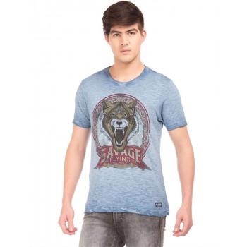 Flying Machine Men Casual Wear Blue T-Shirt