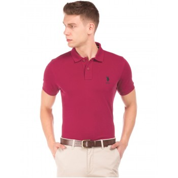 U.S. Polo Assn. Men Casual Wear Pink T-Shirt