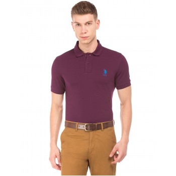 U.S. Polo Assn. Men Casual Wear Purple T-Shirt