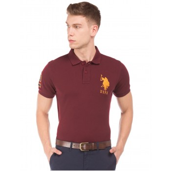 U.S. Polo Assn. Men Casual Wear Maroon T-Shirt