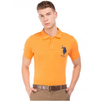 U.S. Polo Assn. Men Casual Wear Yellow T-Shirt