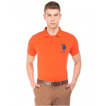 U.S. Polo Assn. Men Casual Wear Orange T-Shirt