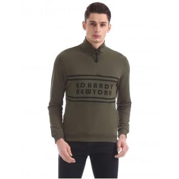 Ed Hardy Men Casual Wear Olive Sweatshirt