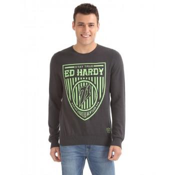Ed Hardy Men Casual Wear Grey Sweater