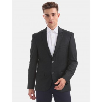 Arrow Men Formal Wear Dark Grey Single Breasted Blazer