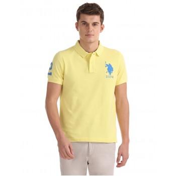 U.S. Polo Assn. Men Casual Wear Yellow T-Shirt