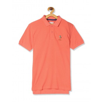 U.S. Polo Assn. Orange Boys Solid Cotton Polo Shirt