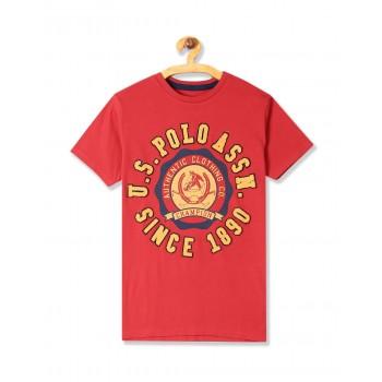U.S. Polo Assn. Boys Printed Crew Neck T-Shirt