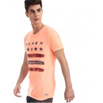 Ed Hardy Men Casual Wear Orange T-Shirt